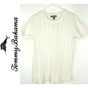 Tommy Bahama Womens Cream Knitted T-shirt Small